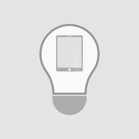 Illustration of an isolated light bulb with a tablet computer Illustration
