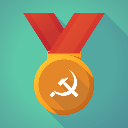 Illustration of a long shadow gold award medal with  the communist symbol