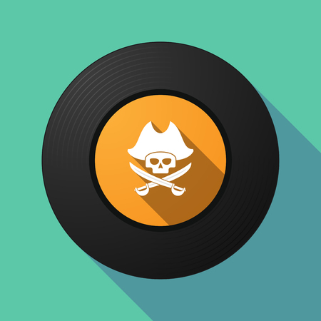 Illustration of a long shadow vinyl long play disc with a pirate skull