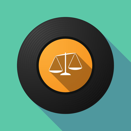 Illustration of a long shadow vinyl long play disc with  an unbalanced weight scale