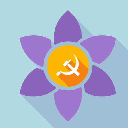 Illustration of a long shadow loto flower with  the communist symbol
