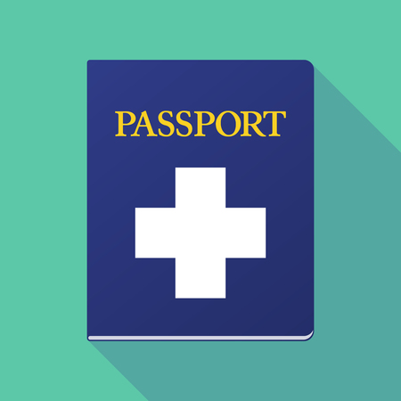 documentation: Illustration of a long shadow  passport with a pharmacy sign