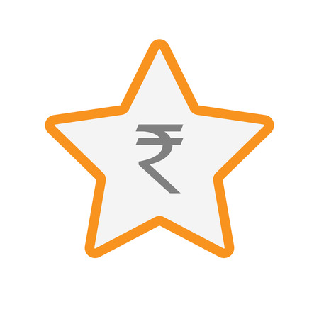 star award: Illustration of an isolated line art star with a rupee sign Illustration