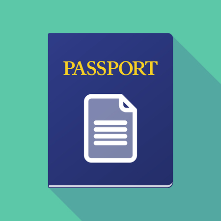 Illustration of a long shadow  passport with a document