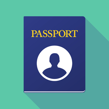 Illustration of a long shadow  passport with a male avatar