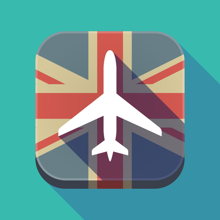 Illustration of a long shadow square button with the United Kingdom flag and a plane