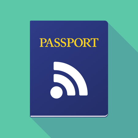 really simple syndication: Illustration of a long shadow  passport with an RSS sign