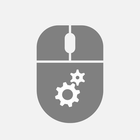 Illustration of an isolated personal computer wireless mouse with two gears