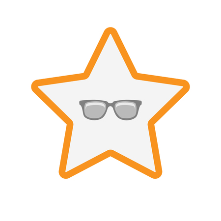 star award: Illustration of an isolated line art star with a glasses