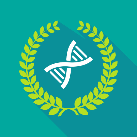 Illustration of a long shadow laurel wreath with a DNA sign