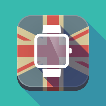touch screen interface: Illustration of a long shadow square button with the United Kingdom flag and a smart watch