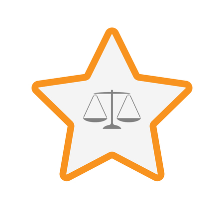 Illustration of an isolated line art star with a justice weight scale sign