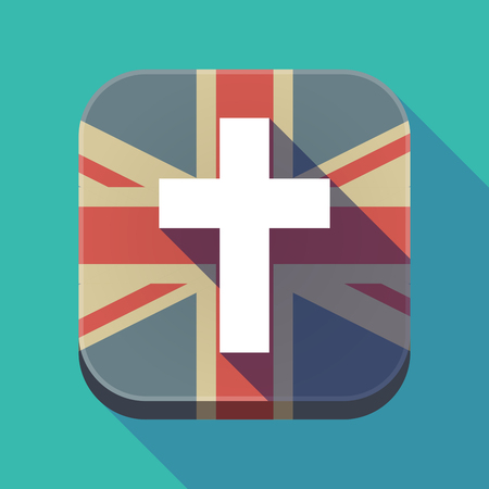 kingdom of god: Illustration of a long shadow square button with the United Kingdom flag and a christian cross