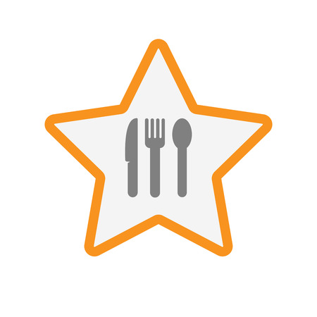 Illustration of an isolated line art star with cutlery Illustration