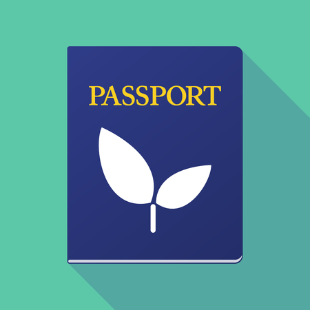 Illustration of a long shadow  passport with a plant Çizim