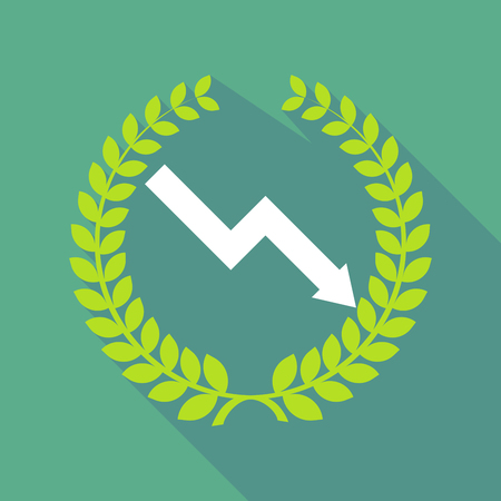 Illustration of a long shadow laurel wreath with a descending graph