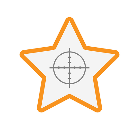 Illustration of an isolated line art star with a crosshair