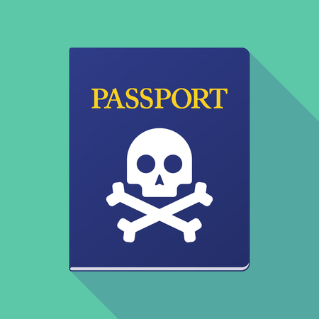 beware: Illustration of a long shadow  passport with a skull Illustration