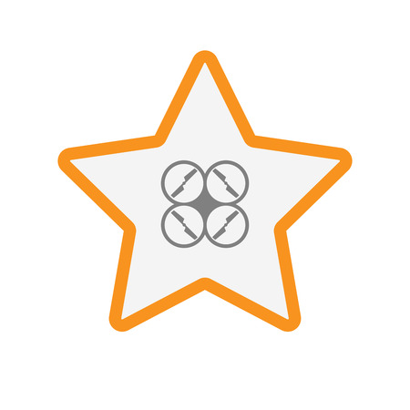 star award: Illustration of an isolated line art star with a drone Illustration