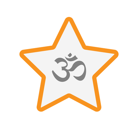 om sign: Illustration of an isolated line art star with an om sign