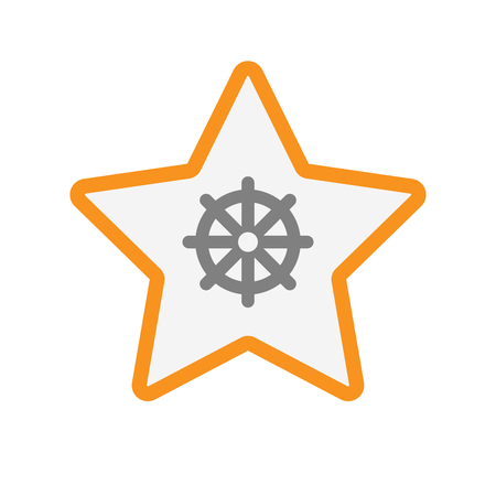 Illustration of an isolated line art star with a dharma chakra sign Illustration
