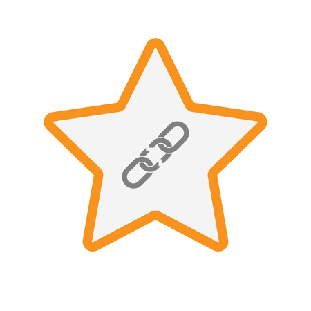 star award: Illustration of an isolated line art star with a broken chain
