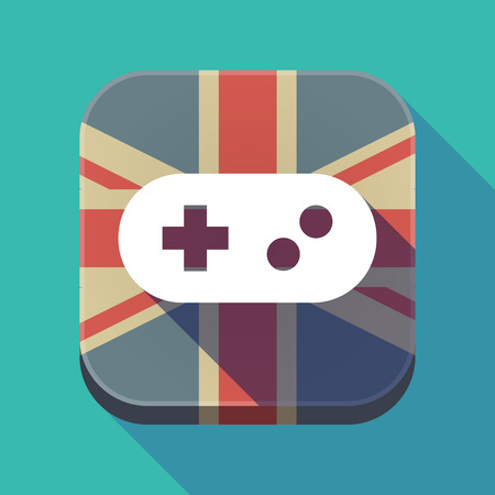 Illustration of a long shadow square button with the United Kingdom flag and a game pad