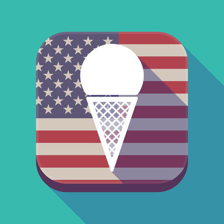 Illustration of a long shadow square app button with the United States of America flag and a cone ice cream