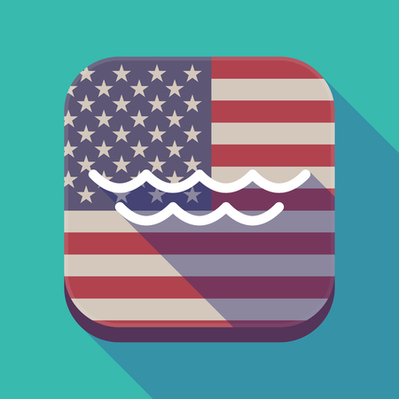 Illustration of a long shadow square app button with the United States of America flag and a water sign