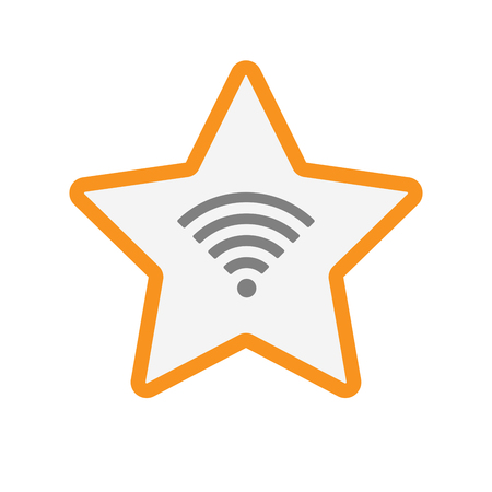 star award: Illustration of an isolated line art star with a radio signal sign