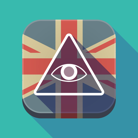 Illustration of a long shadow square button with the United Kingdom flag and an all seeing eye