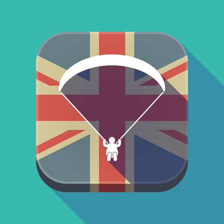 Illustration of a long shadow square button with the United Kingdom flag and a paraglider Illustration