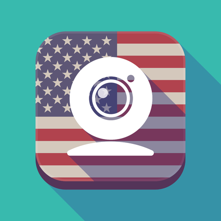 Illustration of a long shadow square app button with the United States of America flag and a web cam