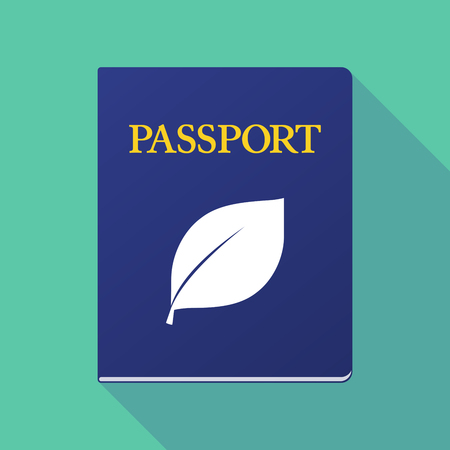 Illustration of a long shadow  passport with a leaf