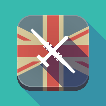 Illustration of a long shadow square button with the United Kingdom flag and a war drone