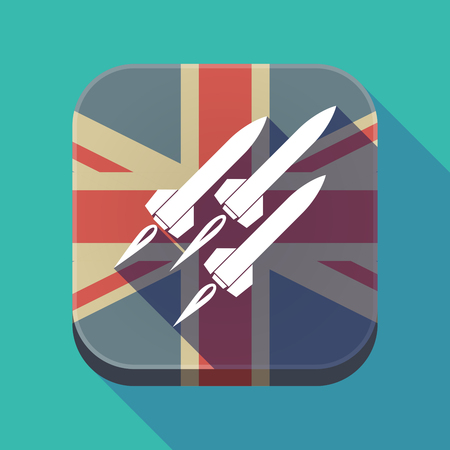 Illustration of a long shadow square button with the United Kingdom flag and missiles Illustration