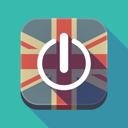 Illustration of a long shadow square button with the United Kingdom flag and an off button Illustration