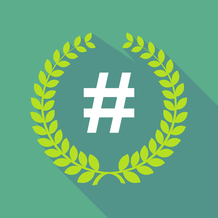 Illustration of a long shadow laurel wreath with a hash tag Illustration