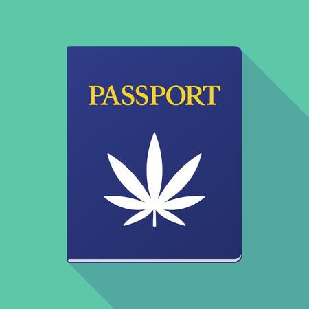 documentation: Illustration of a long shadow  passport with a marijuana leaf