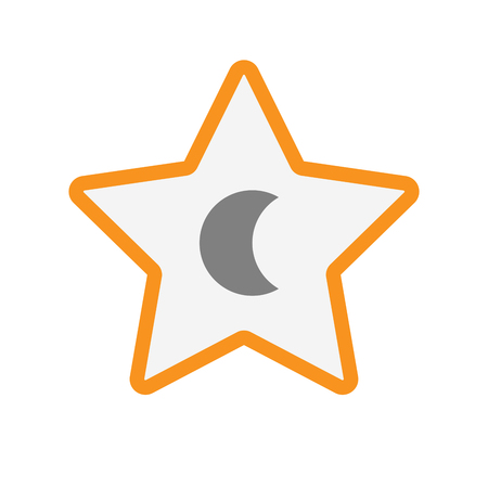 star award: Illustration of an isolated line art star with a moon