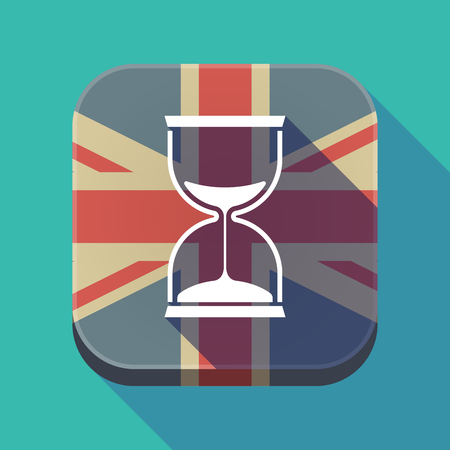 Illustration of a long shadow square button with the United Kingdom flag and a sand clock