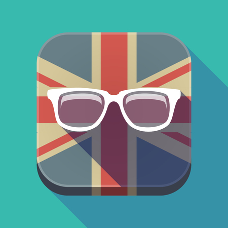 Illustration of a long shadow square button with the United Kingdom flag and a glasses Illustration