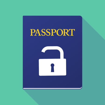 documentation: Illustration of a long shadow  passport with an open lock pad