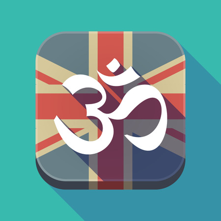 om sign: Illustration of a long shadow square button with the United Kingdom flag and an om sign