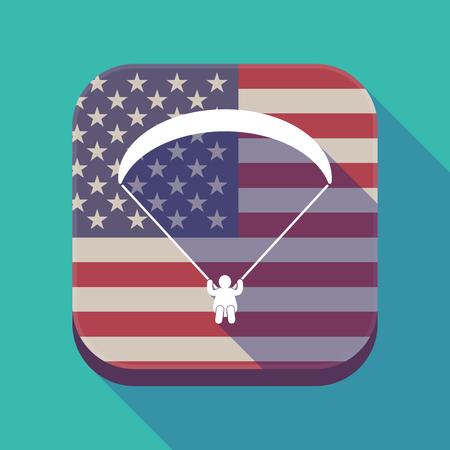 Illustration of a long shadow square app button with the United States of America flag and a paraglider