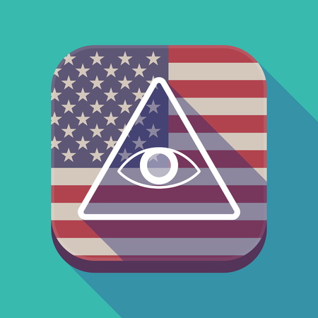 Illustration of a long shadow square app button with the United States of America flag and an all seeing eye