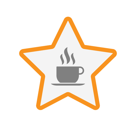 Illustration of an isolated line art star with a cup of coffee