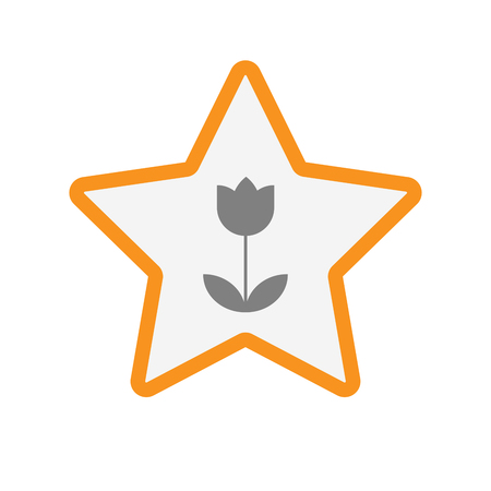 incentive: Illustration of an isolated line art star with a tulip Illustration