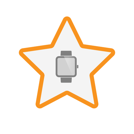 Illustration of an isolated line art star with a smart watch