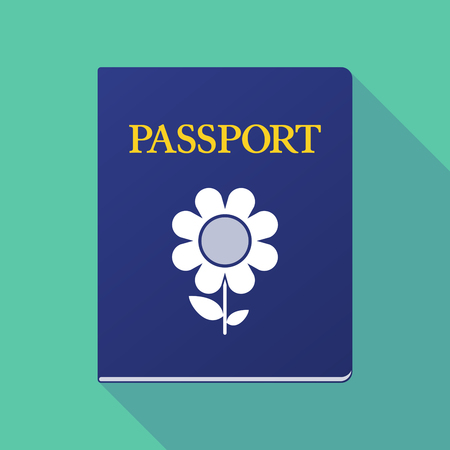 emigration: Illustration of a long shadow  passport with a flower
